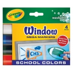 Crayola® Washable Window Mega Marker School 4-Color Set; Color: Multi; Type: Washable; (model 58-8171), price per pack