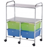 "Blue Hills Studio™ Storage Cart 4-Drawer (Deep) with 2-Shelf Multi-Colored; Color: Multi; Drawer Size: 13 3/4""l x 9 3/4""w x 5""h; Material: Plastic; Quantity: 4-Drawer; Size: 15 1/4""d x 23 5/8""w x 32""h; (model SC4MCDW-S), price per each"