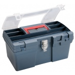 "Heritage Arts™ Medium Art Blue Tool Box; Color: Black/Gray; Material: Plastic; Size: 8""d x 16""w x 9 1/2""h; (model HPB1610), price per each"