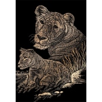 "Royal & Langnickel® Engraving Art Set Copper Foil Lioness & Cub; Board Size: 8"" x 10""; Color: Metallic; (model COPF11), price per set"