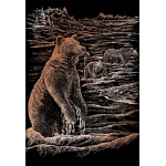 "Royal & Langnickel® Engraving Art Set Copper Foil Grizzly Bears; Board Size: 8"" x 10""; Color: Metallic; (model COPF21), price per set"
