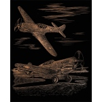 "Royal & Langnickel® Engraving Art Set Copper Foil WWII Fighter; Board Size: 8"" x 10""; Color: Metallic; (model COPF25), price per set"