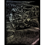 """Royal & Langnickel® Engraving Art Set Holographic Foil Motorcycle Racing; Board Size: 8"""" x 10""""; Color: Metallic; (model HOLO19), price per set"""