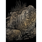 "Royal & Langnickel® Engraving Art Set Gold Foil Lion/Cubs; Board Size: 8"" x 10""; Color: Metallic; (model GOLF14), price per set"