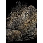 "Royal & Langnickel® Engraving Art Set Gold Foil Lion/Cubs; Board Size: 8"" x 10""; Color: Metallic; (model GOLF14), price per set"