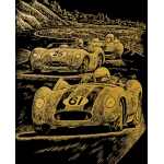 "Royal & Langnickel® Engraving Art Set Gold Foil Nostalgic Race Cars; Board Size: 8"" x 10""; Color: Metallic; (model GOLF25), price per set"