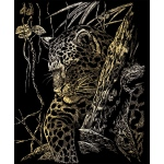 "Royal & Langnickel® Engraving Art Set Gold Foil Leopard Tree; Board Size: 8"" x 10""; Color: Metallic; (model GOLF21), price per set"