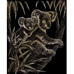 "Royal & Langnickel® Engraving Art Set Gold Foil Koala Bears; Board Size: 8"" x 10""; Color: Metallic; (model GOLF17), price per set"