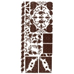 "Dazzles™ Stickers Brown Corners: Brown, 4"" x 9"", Outline, (model HOTP1578), price per each"