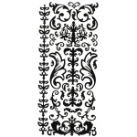 "Dazzles™ Stickers Black Swirl Flourish: Black/Gray, 4"" x 9"", Outline, (model HOTP1612), price per each"