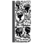 "Dazzles™ Stickers Black Fabulous Ladies: Black/Gray, 4"" x 9"", Outline, (model HOTP1618), price per each"