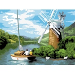 "Royal & Langnickel® Painting by Numbers™ 12 3/4 x 15 3/4 Adult Set Windmill on the River; Board Size: 12 3/4"" x 15 3/4""; (model PAL7), price per set"