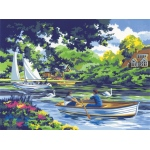 "Royal & Langnickel® Painting by Numbers™ 12 3/4 x 15 3/4 Adult Set Boating on the River; Board Size: 12 3/4"" x 15 3/4""; (model PAL8), price per set"