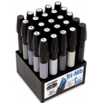 Chartpak® AD™ Marker 25-Color Warm/Cool Gray Set: Black/Gray, Xylene-Based, Fine Nib, (model SETE), price per set