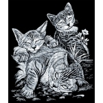 "Royal & Langnickel® Engraving Art Set Silver Foil Tabby Cat & Kitten; Board Size: 8"" x 10""; Color: Metallic; (model SILF13), price per set"