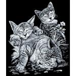 "Royal & Langnickel® Engraving Art Set Silver Foil Tabby Cat & Kitten; Board Size: 8"" x 10""; Color: Metallic; (model SILF13), price per set"