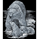 "Royal & Langnickel® Engraving Art Set Silver Foil Polar Bear & Cub; Board Size: 8"" x 10""; Color: Metallic; (model SILF14), price per set"