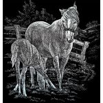 "Royal & Langnickel® Engraving Art Set Silver Foil Mare & Foal: 8"" x 10"", Metallic, (model SILF15), price per set"