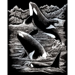"Royal & Langnickel® Engraving Art Set Silver Foil Orca Whales; Board Size: 8"" x 10""; Color: Metallic; (model SILF19), price per set"