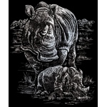 "Royal & Langnickel® Engraving Art Set Silver Foil Rhinoceros & Baby; Board Size: 8"" x 10""; Color: Metallic; (model SILF21), price per set"