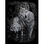 "Royal & Langnickel® Engraving Art Set Silver Foil Wolves in Trees; Board Size: 8"" x 10""; Color: Metallic; (model SILF23), price per set"