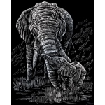 "Royal & Langnickel® Engraving Art Set Silver Foil Elephant & Baby; Board Size: 8"" x 10""; Color: Metallic; (model SILF22), price per set"