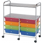 "Blue Hills Studio™ Storage Cart 8-Drawer (Wide) with 2-Shelf Multi-Colored; Color: Multi; Drawer Size: 12 3/8""l x 12 3/8""w x 3 1/2""h; Material: Plastic; Quantity: 8-Drawer; (model SC8MCDW-12-S), price per each"