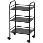 "Blue Hills Studio™ Storage Cart 3-Shelf Black; Color: Black/Gray; Material: Plastic; Quantity: 3-Shelf; Size: 12""d x 4 1/4""w x 29 3/4""h; (model SH3BK), price per each"