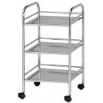 "Blue Hills Studio™ Storage Cart 3-Shelf Chrome; Color: Metallic; Material: Plastic; Quantity: 3-Shelf; Size: 12""d x 4 1/4""w x 29 3/4""h; (model SH3CH), price per each"
