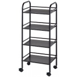 "Blue Hills Studio™ Storage Cart 4-Shelf Black; Color: Black/Gray; Material: Plastic; Quantity: 4-Shelf; Size: 12""d x 14 1/2""w x 29 3/4""h; (model SH4BK), price per each"