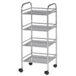 "Blue Hills Studio™ Storage Cart 4-Shelf Chrome; Color: Metallic; Material: Plastic; Quantity: 4-Shelf; Size: 12""d x 14 1/2""w x 29 3/4""h; (model SH4CH), price per each"