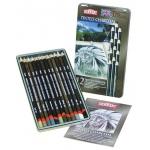 Derwent Tinted Charcoal Pencil: Tin, 12-Color Set