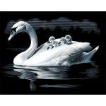 "Reeves™ Scraperfoil™ Scraperfoil Swan & Cygnets: Metallic, 8"" x 10"", (model PPSF37), price per each"