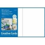 "Strathmore® 5 x 6.875 Fluorescent White/Deckle Creative Cards 100-Pack; Color: White/Ivory; Envelope Included: Yes; Format: Card; Quantity: 100 Cards; Size: 5"" x 6 7/8""; Weight: 80 lb; (model ST105-660), price per 100 Cards"