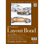 "Strathmore® 400 Series 9"" x 12"" Glue Bound Layout Bond Pad: Glue Bound, White/Ivory, Pad, 50 Sheets, 9"" x 12"", Layout Bond, 16 lb, (model ST411-9), price per 50 Sheets pad"