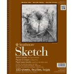 """Strathmore® 400 Series 11"""" x 14"""" Wire Bound Sketch Pad: Wire Bound, White/Ivory, Pad, 100 Sheets, 11"""" x 14"""", 60 lb, (model ST455-4), price per 100 Sheets pad"""