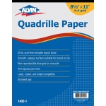 "Alvin® Quadrille Paper 4x4 Grid 50-Sheet Pad 8.5"" x 11""; Format: Pad; Grid Size/Pattern: 4"" x 4""; Quantity: 50 Sheets; Size: 8 1/2"" x 11""; Weight: 20 lb; (model 1432-1), price per 50 Sheets pad"