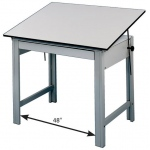 "Alvin® DesignMaster Office Height Drawing Table; Angle Adjustment Range: 0 - 45; Base Color: Black/Gray; Base Material: Steel; Height: 28""; Top Color: White/Ivory; Top Material: Melamine; Top Size: 36"" x 48""; (model DM48LT), price per each"