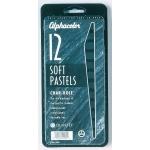 Alphacolor® Char-Kole® Soft Pastels 12-Set: Black/Gray, Stick, Soft, (model QT167007), price per set