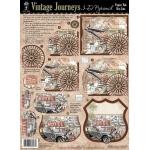 """Hot Off the Press 3-D Papier Tole Die Cuts Vintage Journeys: Multi, 8 1/2"""" x 11"""", (model HOTP8026), price per set"""