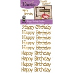 "Dazzles™ Happy Birthday Greetings Gold Glitter Stickers: Metallic, 4"" x 9"", Flat, (model HOTP1908), price per each"