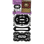 "Dazzles™ Stickers Nested Frames Black: Metallic, 4"" x 9"", Flat, (model HOTP1924), price per each"