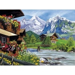 "Reeves™ Large Painting by Number Mountain Chalets; Board Size: 12"" x 15 1/2""; (model PL30A), price per each"