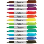 Sharpie® Fine Point Permanent 12-Color Marker Set; Color: Multi; Tip Type: Fine Nib; (model SN30072), price per set