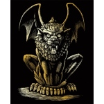 "Royal & Langnickel® Engraving Art Set Gold Lion Gargoyle; Board Size: 8"" x 10""; Color: Metallic; (model GOLF27), price per set"