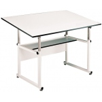 "Alvin® WorkMaster® Table White Base White Top 36"" x 48""; Angle Adjustment Range: 0 - 40; Base Color: White/Ivory; Base Material: Steel; Height Range: 29"" - 46""; Top Color: White/Ivory; Top Material: Melamine; Top Size: 36"" x 48""; (model WM48-4-XB), price per each"