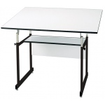 "Alvin® WorkMaster® Jr. Table Black Base White Top 36"" x 48""; Angle Adjustment Range: 0 - 35; Base Color: Black/Gray; Base Material: Steel; Height Range: 29"" - 44""; Top Color: White/Ivory; Top Material: Melamine; Top Size: 36"" x 48""; (model WMJ48-3-XB), price per each"