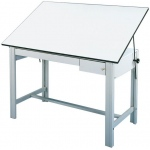 "Alvin® DesignMaster Table Gray Base White Top 2 Drawers 37.5"" x 72""; Angle Adjustment Range: 0 - 45; Base Color: Black/Gray; Base Material: Steel; Height: 37""; Top Color: White/Ivory; Top Material: Melamine; Top Size: 37 1/2"" x 72""; (model DM72CT), price per each"