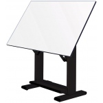 "Alvin® Elite Table Black Base White Top 37.5"" x 60"": 0 - 85, Black/Gray, Steel, 38"" - 45"", White/Ivory, Melamine, 37 1/2"" x 60"", (model ET60-3), price per each"