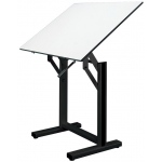 "Alvin® Ensign Table Black Base White Top 31"" x 42""; Angle Adjustment Range: 0 - 90; Base Color: Black/Gray; Base Material: Steel; Height Range: 37"" - 47""; Top Color: White/Ivory; Top Material: Melamine; Top Size: 31"" x 42""; (model EN42-3), price per each"